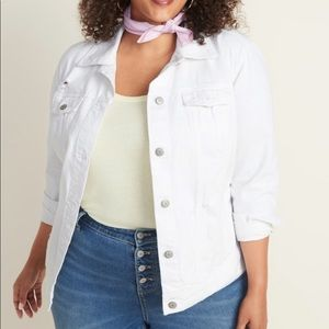 Old Navy Solid Bright White Jean Jacket Plus 3X